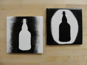Set of 2 homemade coasters available at Barley's for $4.00